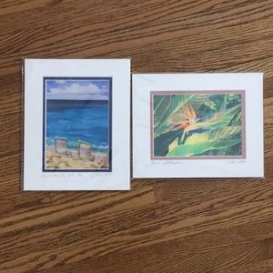 2 matted prints signed artist, Lucinda O'Connell